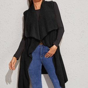 New Black Colored Waterfall Teddy Vest Coat